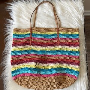 Loft Woven Paper Shoulder Bag with Wristlet